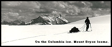 Backcountry skiing Columbia Icefield, looking at Mt. Bryce.