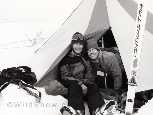 At our tent on the Columbia Icefield, 1995. Early Dynafits, skiinny skis, and snow.
