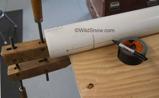 To place machine screws for centering core, draw a triad of straight lines on the shell, using workbench as a guide simply slide marker along on a spacer, in this case I set the marker on my roll of tape.