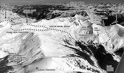 Aerial photo, Friends Hut environs, sample from guidebook. (Note, Crystal Pass is now known as Star Pass.)