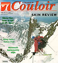 Lou on the cover of Couloir Magazine, Feb/Mar '93, skiing Crestone Needle, South Couloir. (Glenn Randall photo).