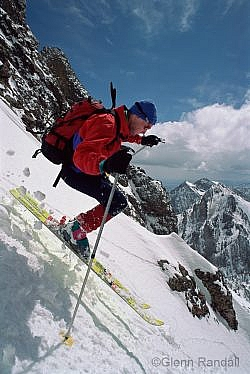 Lou Dawson skiing the south face of 14,197-foot Crestone Needle, Sangre de Cristo Wilderness, San Isabel National Forest, Colorado