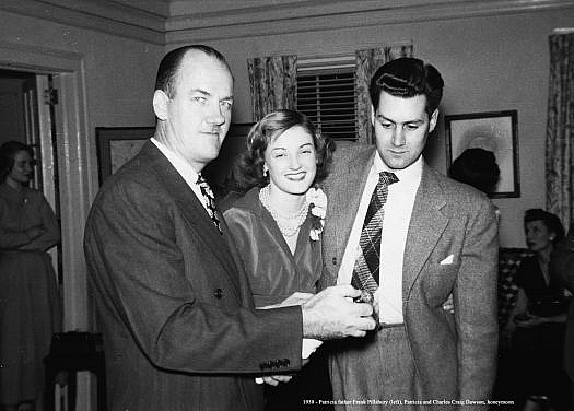 Patricia's father Franklin Pillsbury pops the bubbly, probably the engagement party.