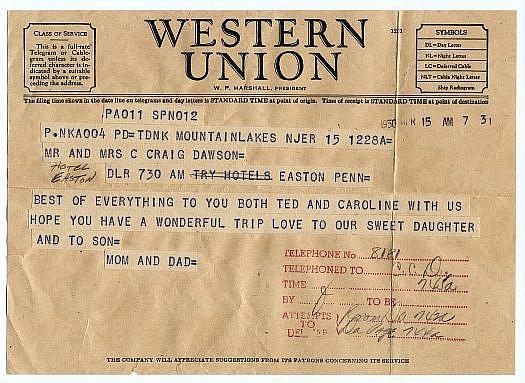 Congratulations telegram.