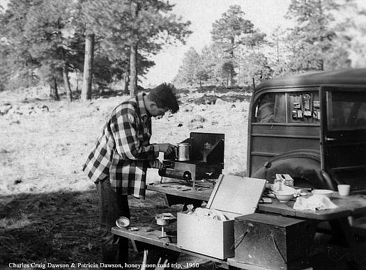 Charles Craig was already a camping expert, note the hand made boxes and the early Coleman style petrol stove.