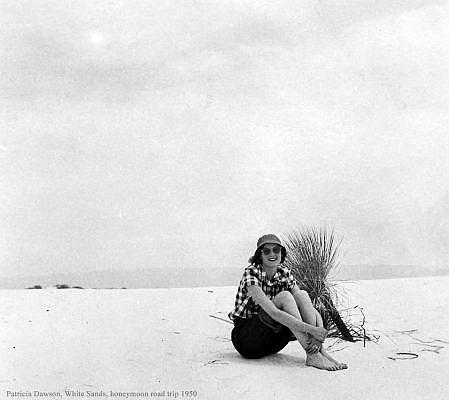 Patricia Dawson at White Sands National Park, honeymoon road trip 1950.