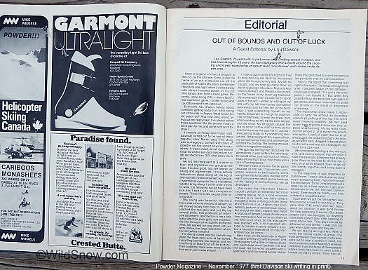 Dawson first published article, Powder Magazine 1977.